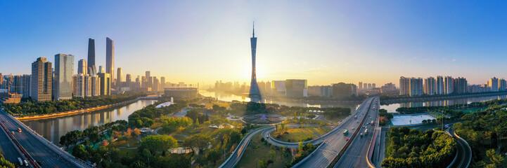 Canvas Prints Paris Aerial photo of CBD complex in Guangzhou, China