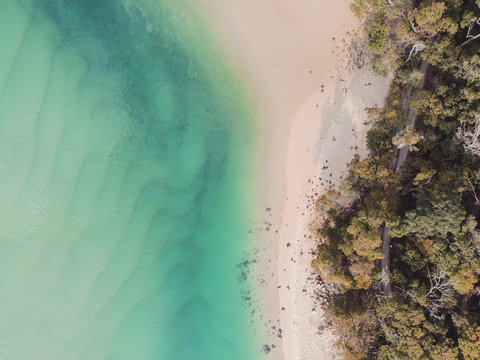 Aerial view of beautiful turquoise sea ocean, beach and tree forest walk, Top view from drone