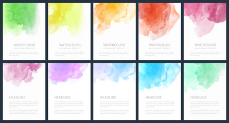 Fotobehang - Set of light colorful vector watercolor A4 backgrounds for poster, brochure or flyer