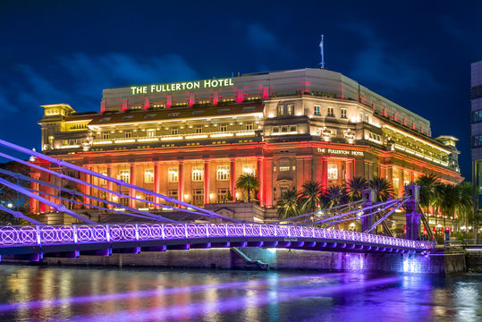 Singapore - August 8, 2018: The Fullerton Hotel Singapore is a five-star luxury hotel located near the mouth of the Singapore River
