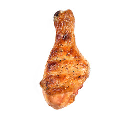 Wall Mural - Grill roast bbq chicken leg isolated on white background