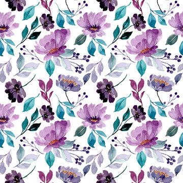 beautiful green purple floral watercolor seamless pattern