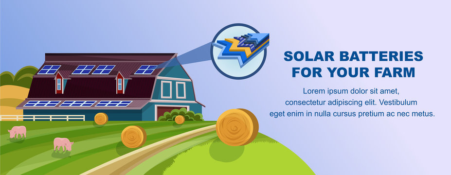 Solar Batteries for Farm Banner. Photovoltaic Panels on Roof Vector Illustration. Alternative Renewable Energy Ecology Protection. Green Ecological Technology. Solar Energy Electricity Generation