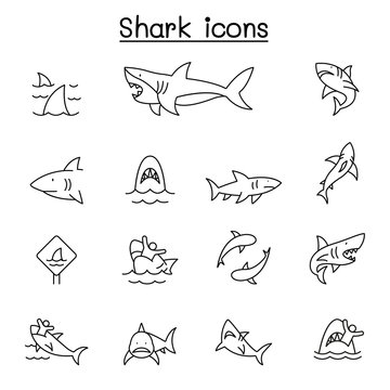 Shark icon set in thin line style