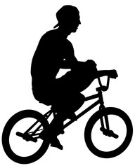 Wall Mural - Young athlete on a bike for extreme stunts. Isolated silhouette on a white background