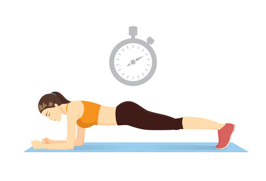 Woman doing plank exercise on blue mat with stopclock symbol over her head. Illustration about best time and countdown to workout.