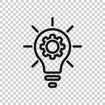 Innovation icon in flat style. Lightbulb with cogwheel vector illustration on white isolated background. Idea business concept.