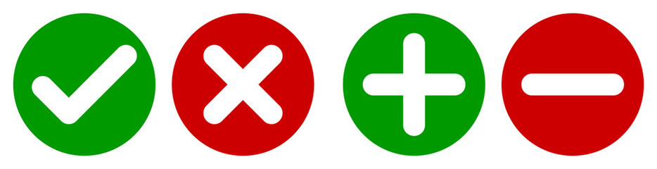 Set of flat round check mark, X mark, plus sign and minus sign icons, buttons isolated on a white background. EPS10 vector file