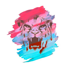 Angry tiger logo with colorful abstract splatters on white background