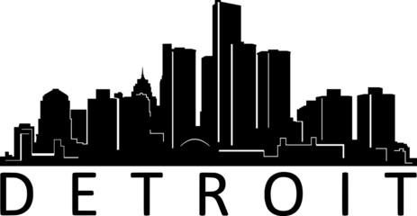 Fototapete - Detroit City Skyline Cityscape Silhouette Vector