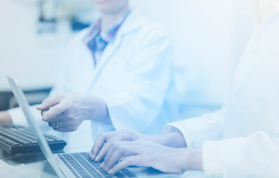 close up hands of scientist team on keyboard  while  using laptop Analyzing Statistics or Research in the laboratory. Health and Medical specialist doctor working in lab ,Studying