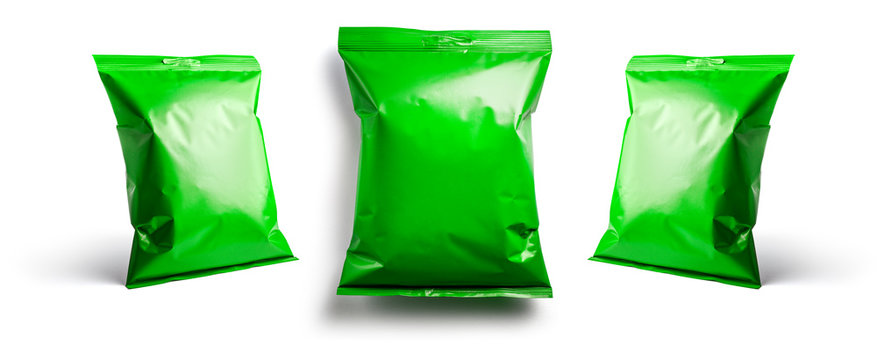 Green packaging template for your design. In different angles on a white background