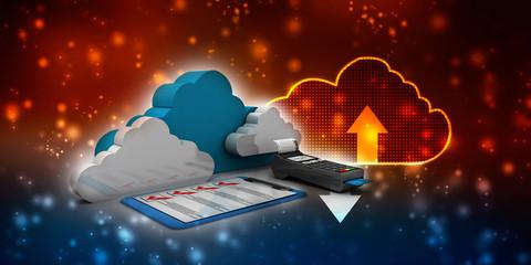 Deurstickers Rood paars 3d illustration Swipe machine with cloud