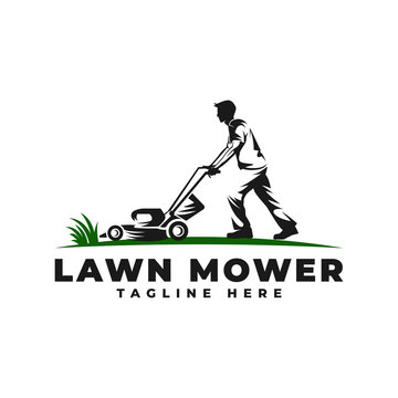 Lawn Mower with People Logo Vector Icon Illustration
