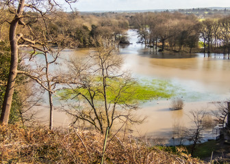 River Mole near Cobham in Surrey in Flood February 2020