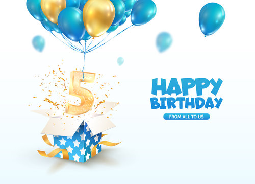 Celebrating of 5 th years birthday vector 3d illustration. Fifth anniversary celebration. Open gift box with explosions confetti and number five flying on balloons on light background