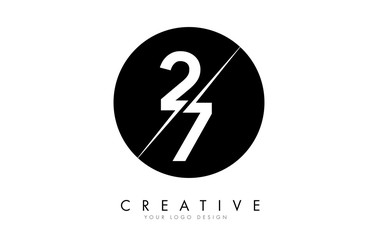 27 2 7 Number Logo Design with a Creative Cut and Black Circle Background. Wall mural