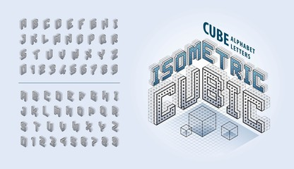 Wall Mural - Vector of Cube Alphabet Letters and numbers, Abstract 3d Isometric Pixels stylized fonts