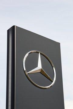 Torsted, Denmark - April 1, 2018: Mercedes logo on a panel. Mercedes-Benz is a german automobile manufacturer, a multinational division of the german manufacturer Daimler AG