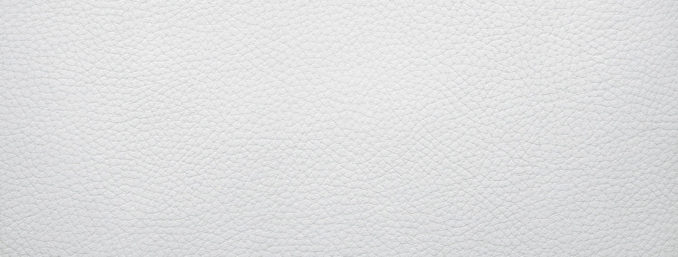 Panoramic white leather texture, background with copy space