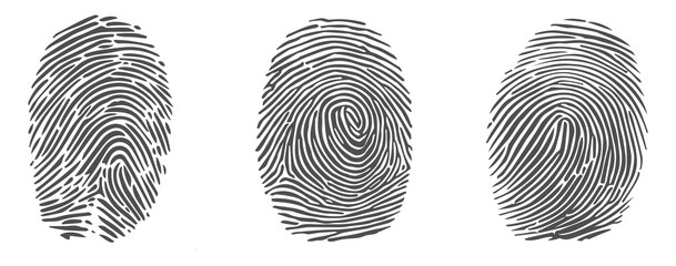 Set of vector fingerprint icons isolated on white background.