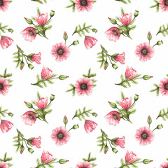 Seamless watercolor pattern with the image of pink poppies, buds and green leaves on a white background. Design for printing postcards, fabrics, textiles, wallpapers, packaging, invitations.