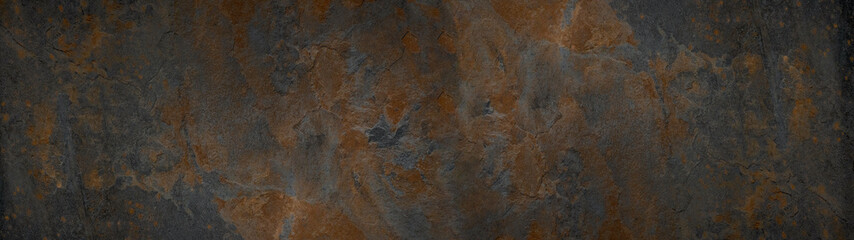 Foto auf AluDibond Metall Grunge rusty dark metal background texture banner panorama