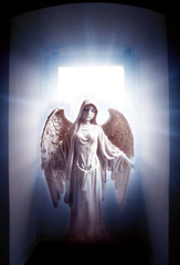 Wall Mural - angel archangel with big open window with divine rays of light