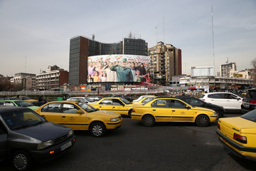 A general view shows Valiasr Square with a General Soleimani billboard in Tehran