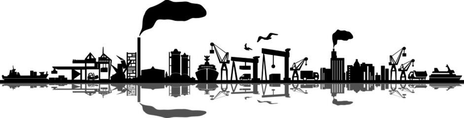 Seaport Skyline Outline Mobility Silhouette Vector