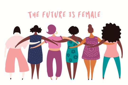 Hand drawn vector illustration of diverse modern girls together. Isolated people on white. Flat style design. Concept, element for feminism, womens day card, poster, banner. Female cartoon characters.