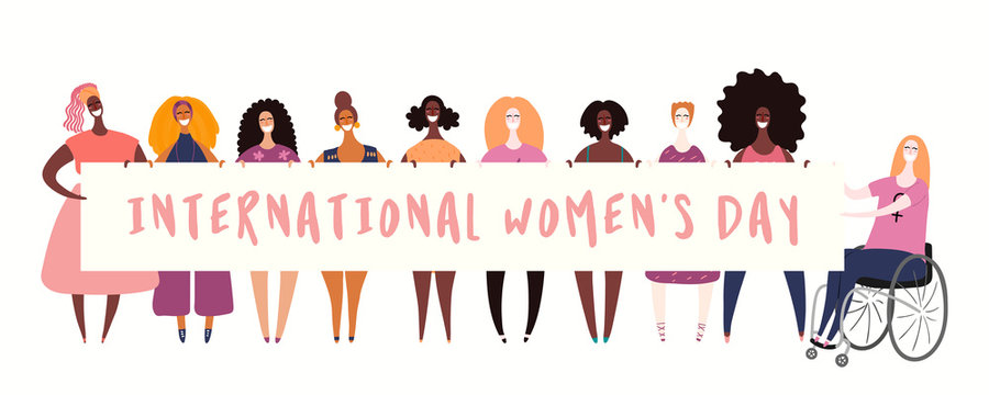 Hand drawn vector illustration of diverse girls holding a banner. Isolated people on white. Flat style design. Concept, element for feminism, womens day card, poster, banner. Female cartoon characters