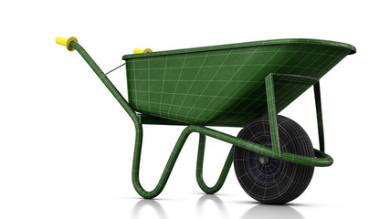 Green labor wheelbarrow with wireframe in studio. 3D illustration