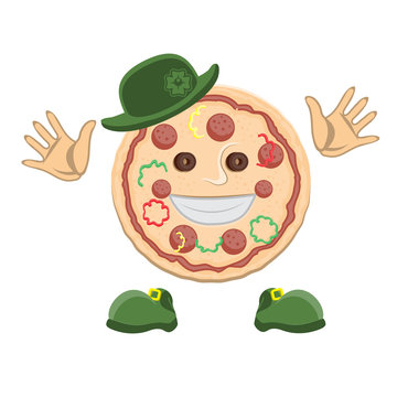 Pizza character face in a green top hat with clover hands and shoes on a white isolated background. Vector image