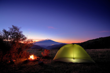 Etna Mount From Wild Camp In Nebrodi Park At Twilight, Sicily