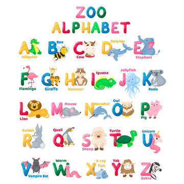 Zoo alphabet animal letters with cute characters