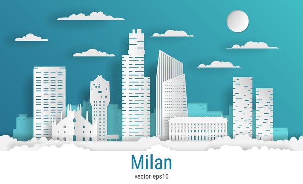 Paper cut style Milan city, white color paper, vector stock illustration. Cityscape with all famous buildings. Skyline Milan city composition for design.