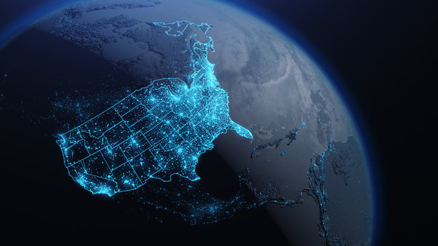 3D illustration of USA and North America from space at night with city lights showing human activity in United States