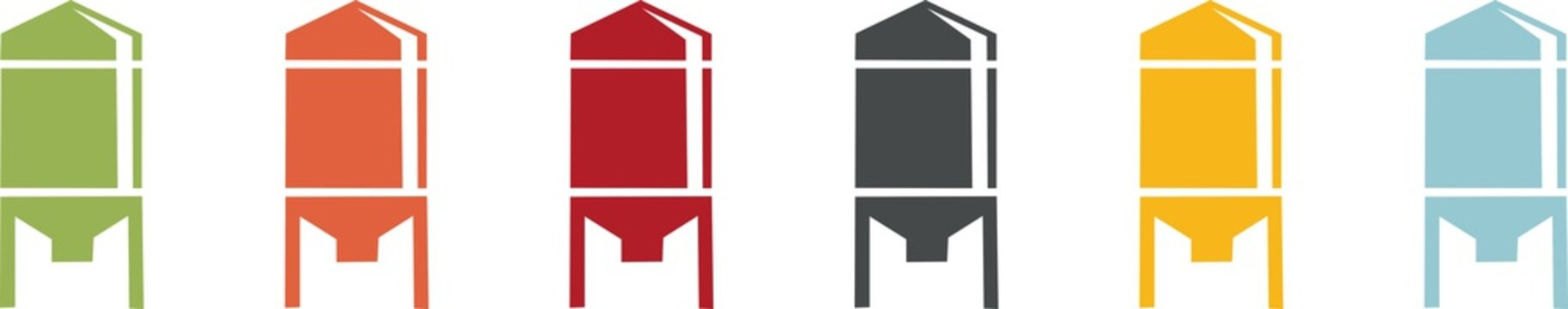 Coloured icons of grain silos for agriculture