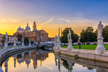 Wall Mural - View of canal with statues on square Prato della Valle in Padova (Padua), Veneto, Italy,