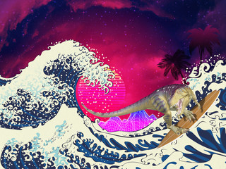 Trex surfing great wave