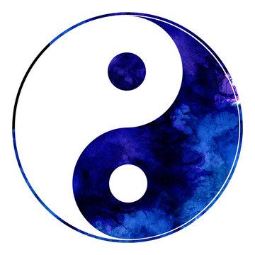 Yin yang blue watercolor