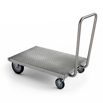Stainless steel wheeled freight trolley cart, 3D illustration
