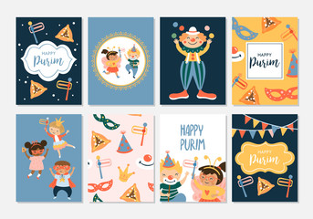 Purim carnival greeting card design with cute children and clown characters. Childish print for card, stickers and party invitations.