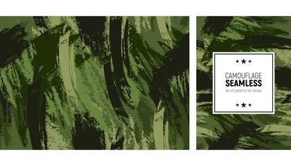 Fototapeta Seamless brush stroke pattern. Camouflage modern background