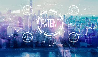 Patent concept with the New York City skyline near midtown