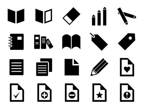本、文房具、オフィス用品などのアイコンセット