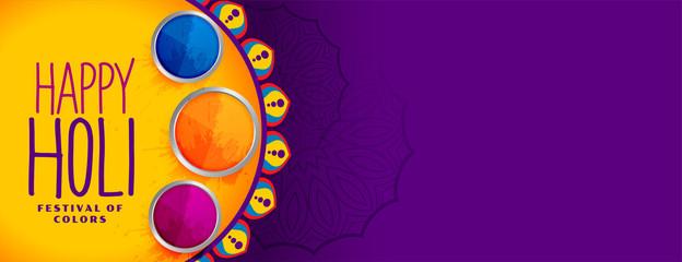 happy holi festival of colors banner design