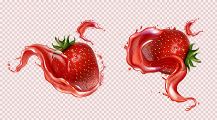 Strawberry with juice splash, realistic vector illustration. Ripe sweet red berries with green leaf and seeds in falling liquid with flying drops, isolated on transparent background, package design