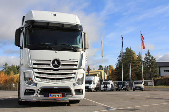 White Mercedes-Benz Actros Truck. Illustrative Editorial Content.